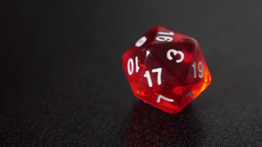 close up slow motion red dice roll, d20 luck concept