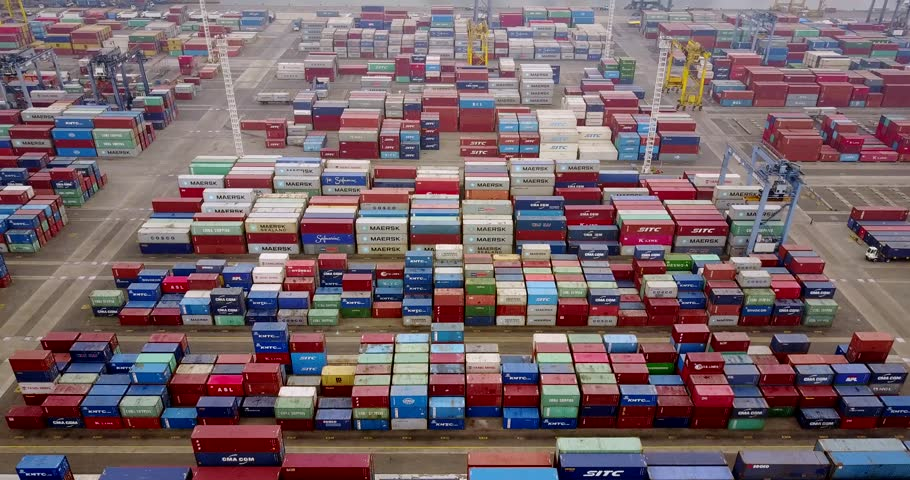 JAKARTA, Indonesia. July 10, 2017: Aerial view footage of stacked cargo containers with crane and truck in Tanjung Priok port terminal. Shot in 4k resolution | Shutterstock HD Video #29087500