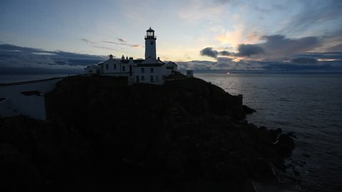 Fanad Head  in Ireland - Co. Donegal/ Fanad Head Lighthouse/ Fanad head lighthouse at the sunrise in Couty Donegal - Ireland