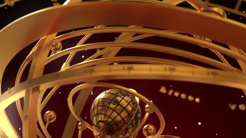Armillary Sphere And Zodiac Signs On Red Background. 3D Animation.