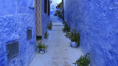 POV, walking in blue town Chefchaouen Chaouen / Morocco, first point of view