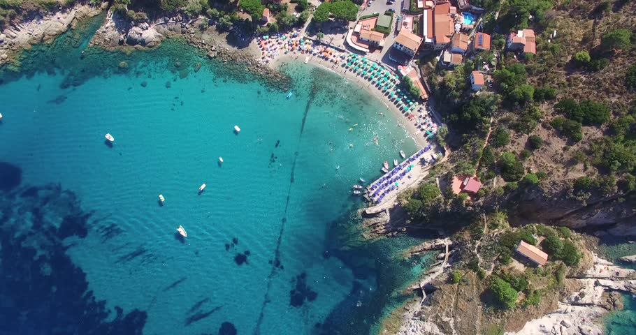 Flight overlooking the lovely village of Sant Andrea, Elba, Italy