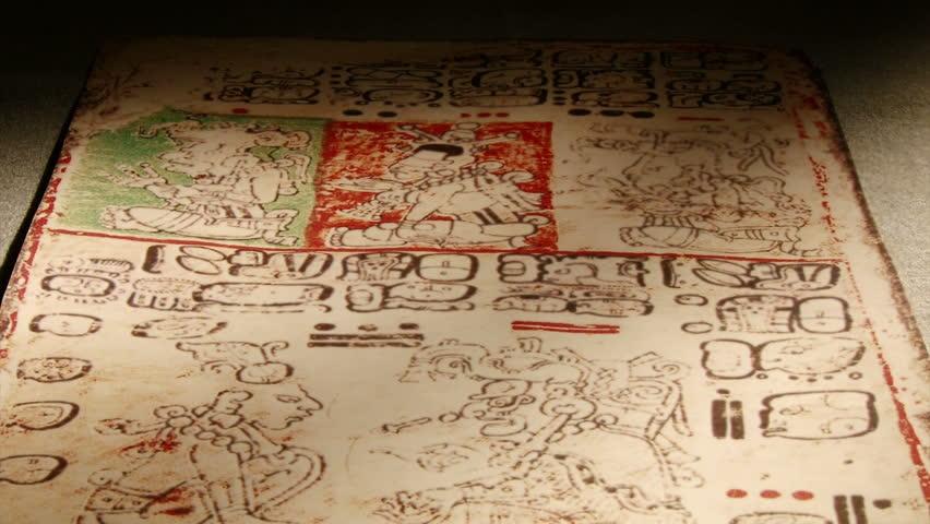 Maya codex, folding books, Mayan hieroglyphic script.