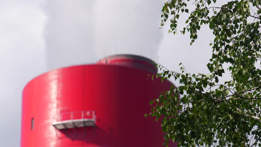4K,60p, Big red white chimney on the site of the coal-fired power plant. Contaminated smoke (co2) rises to the atmosphere. Air contaminated. Air pollution. Closeup, Fade in out   Shutterstock HD Video #29193040