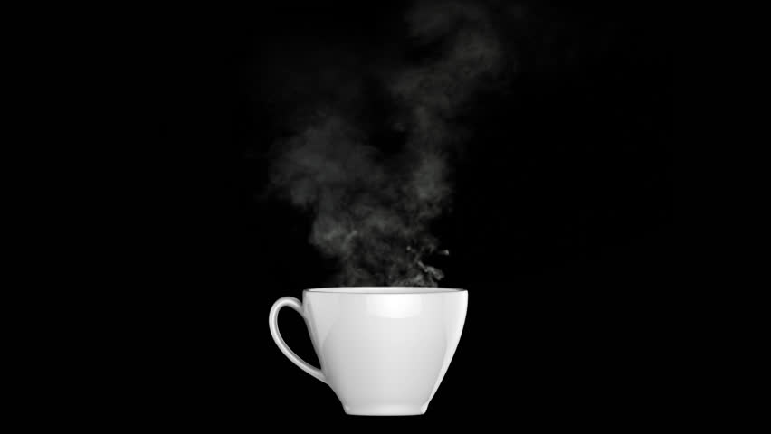 A white coffee or tea cup with white smoke isolated on black background | Shutterstock HD Video #29219680