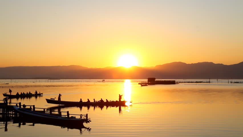 Inle Lake at Myanmar (Burma) at Sunset