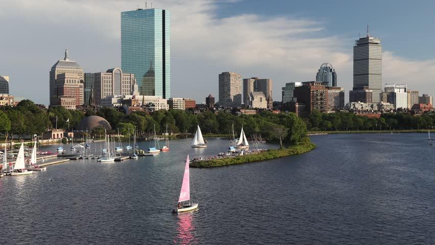 Time-lapse of the Charles River in Boston, Massachusetts with Back Bay in the background.
