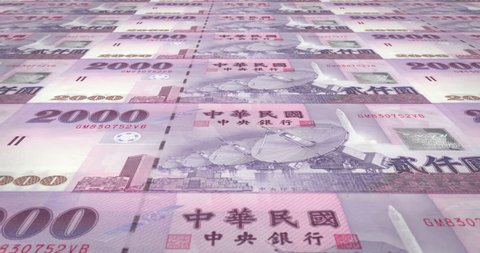 Banknotes of two thousand taiwanese dollars of Taiwan rolling, cash money, loop
