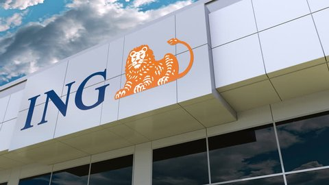 ING Group logo on the modern building facade. Editorial 3D rendering