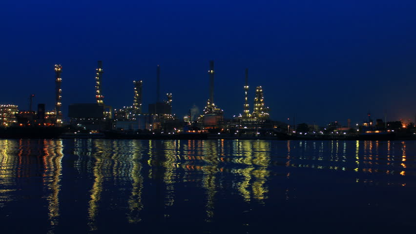 refinery alongside the river time lapse