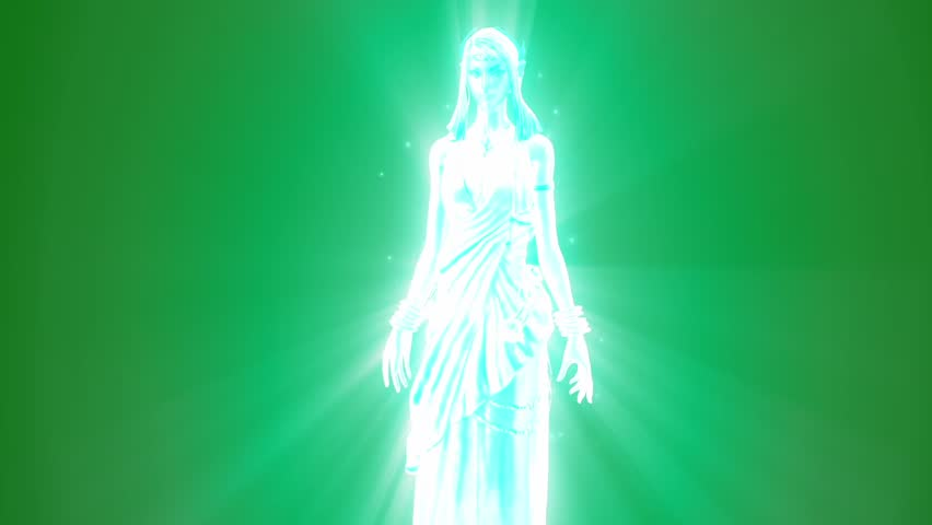 Ghost Goddess Divine Apparition Speaks Green Screen 3D Rendering Animation