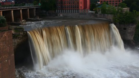 4K UltraHD Timelapse of the High Falls in Rochester, New York at dusk