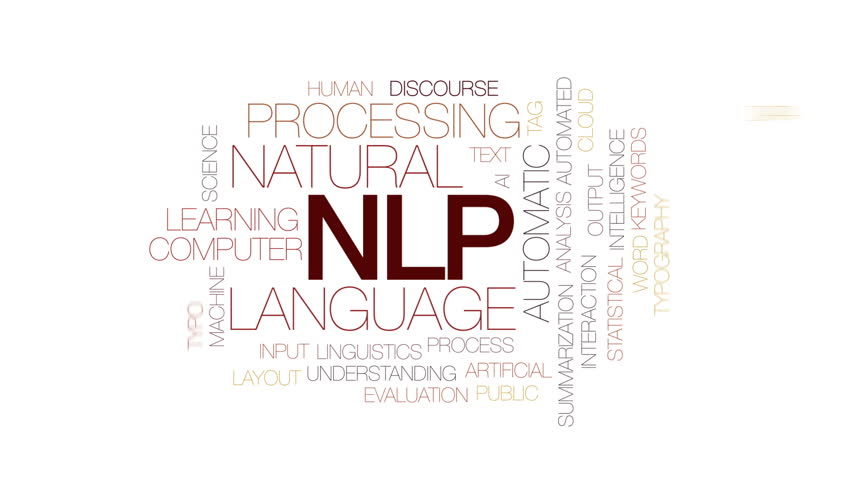 NLP animated word cloud, text design animation. Kinetic typography.