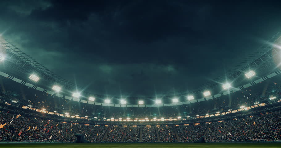 Low angle view of an outdoor stadium or arena full of spectators under a stormy sky. Full 3d modelled and animated stadium with moving lights