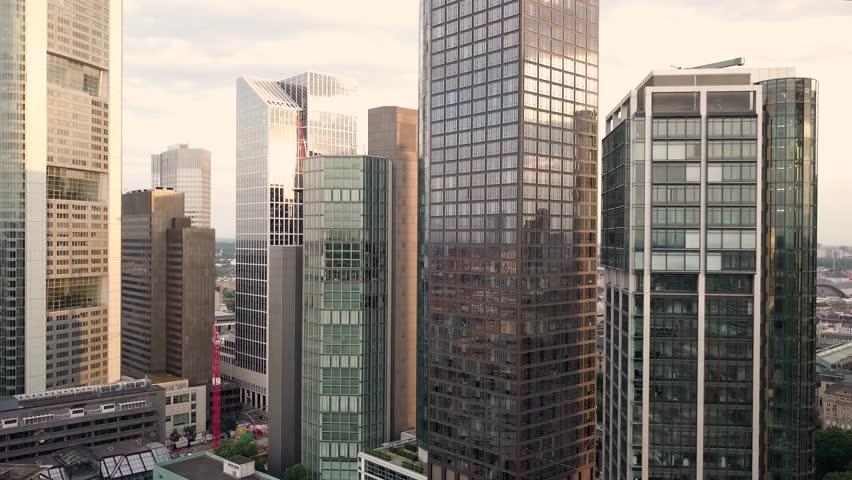 Aerial flight revealing skyline of Frankfurt