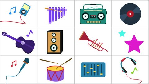 Cartoon animation of Music Icons Background Loop Include music instruments, boombox, microphone, headphones, speakers, note signs full hd and 4k. Music background. Music and Entertainment concept.