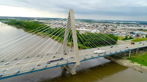 Flyover Around the Christopher S Bond Bridge, Kansas City Missouri