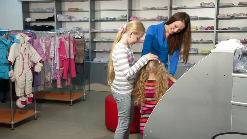 508f737d1640 Family Shopping for Girls Clothing Stock Footage Video (100% Royalty ...