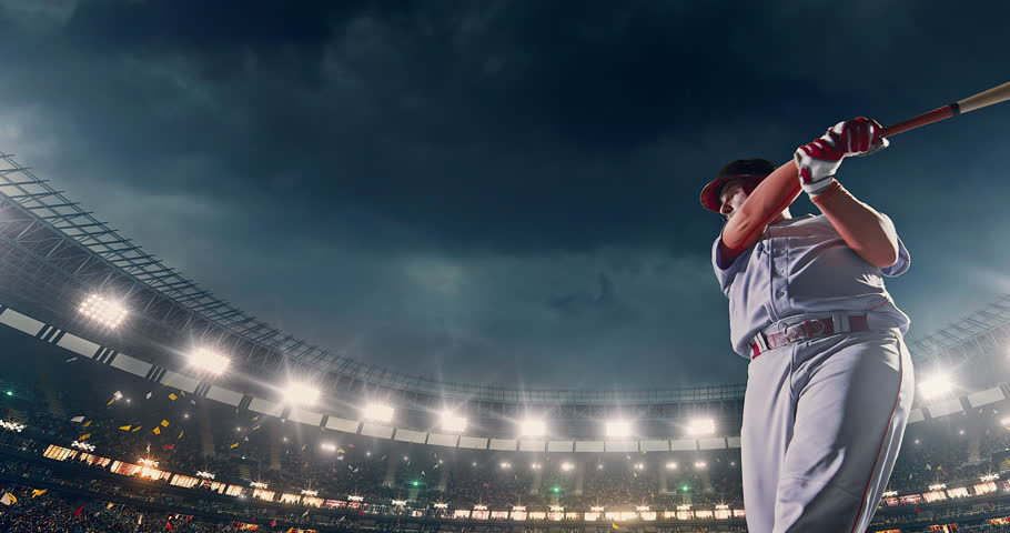 Baseball male player in action during the game on a professional baseball stadium. He wears unbranded sport clothes. The stadium is made in 3D. | Shutterstock HD Video #29470981