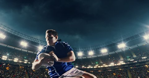 Professional rugby player jumps with a ball on a professional sports arena with bleaches full of people. Arena and people on it are made in 3D.