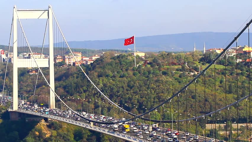 Trans European Motorway (TEM) traffic on the cable bridge. Highway on Fatih