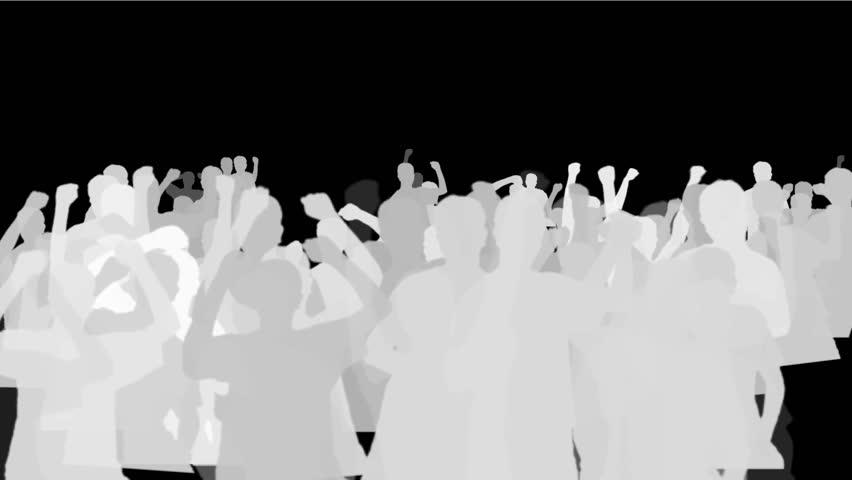 4k Cheering crowd group people men humans  procession,dance concert rallies festivals celebrate celebration silhouette background. 7875_4k