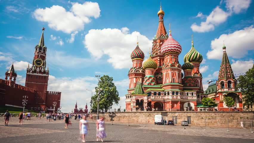 Moscow Red Square, time lapse view of Kremlin and St. Basil's Cathedral in Moscow, Russia. Zoom in.