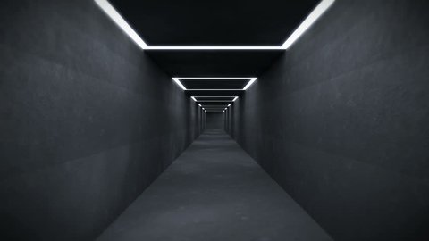 Moving through a Tunnel System with endless Corridors and many changing Directions. The File is Looping and gives a sullen Impression (3D Rendering)