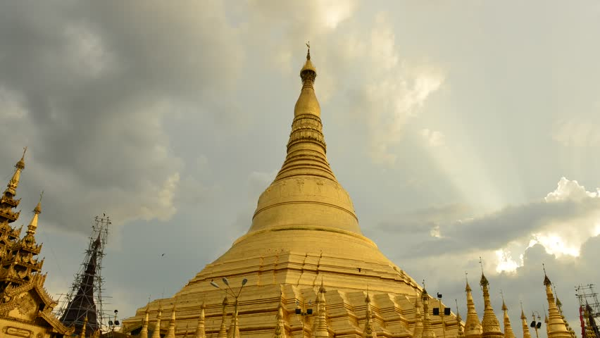 YANGON, MYANMAR - OCTOBER 24: Time lapse of Shwedagon Pagoda Yangon on October 24, 2012 in Yangon, Myanmar