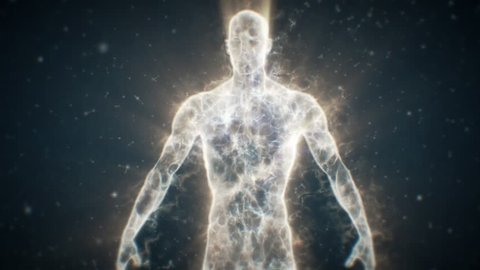 DNA String reveals from Particles then turns back into particles morphing into Human Energy Body