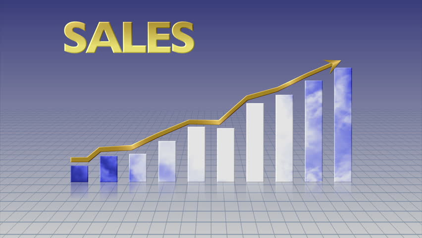 Animated bar graph shows upward trend in sales on a grid background.   Shutterstock HD Video #2950036