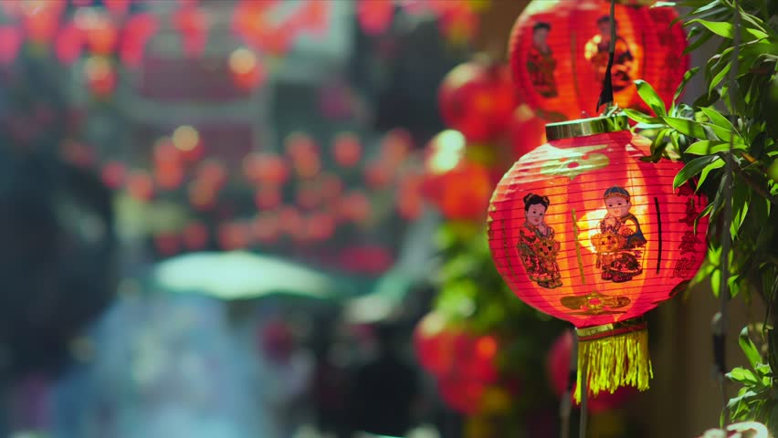 Chinese new year lanterns in china town. Ancestor Worship on Chinese New Year and burning paper gold. | Shutterstock HD Video #29505850