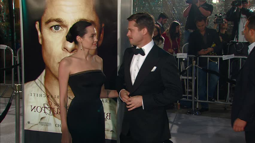 Los Angeles, CA - DECEMBER 08, 2008: Brad Pitt, Angelina Jolie, walks the red carpet at the The Curious Case of Benjamin Button Premiere held at the Mann Villge Theatre