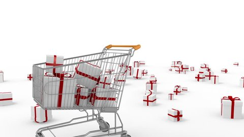 Gifts falling into animated shopping cart