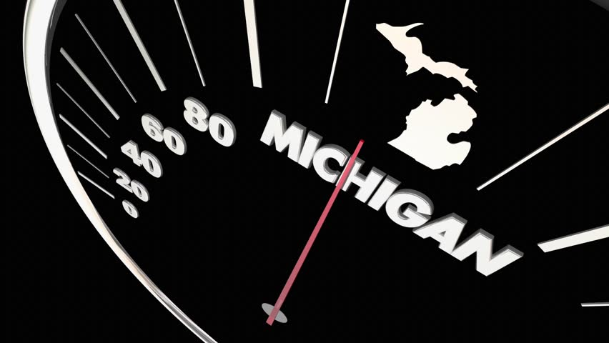 Michigan map stock footage video shutterstock michigan mi state speedometer destination best location 3d animation publicscrutiny Image collections