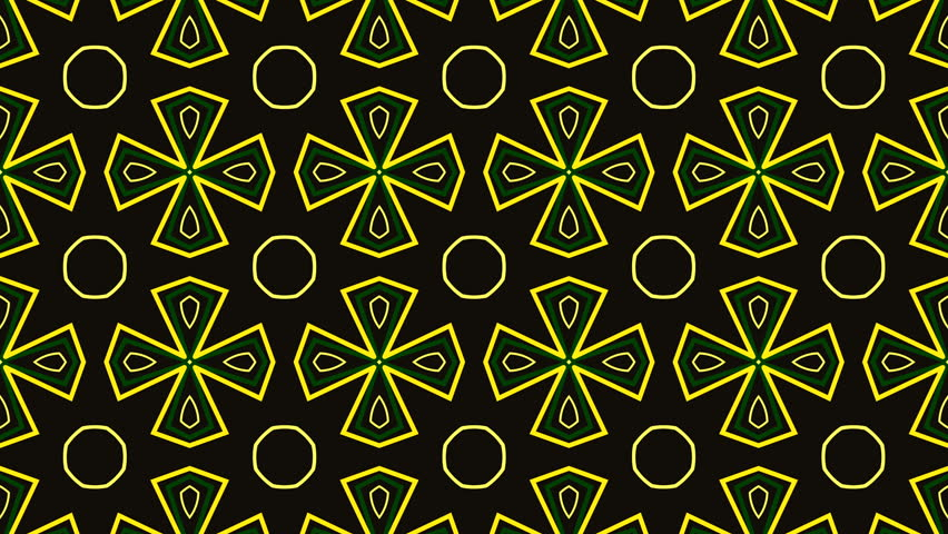 Animated computer composition in yellow tones on dark background in the style of a kaleidoscope, looping without breaks