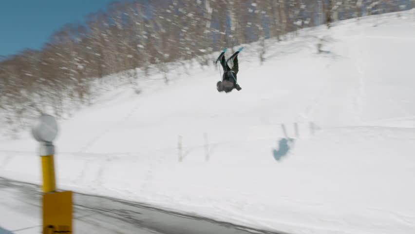 Ski Accident, Double Backflip Over Road to Slam on Head