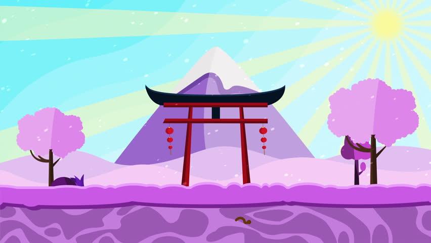 Cartoon Japanese Landscape Background Animation Stock -4471