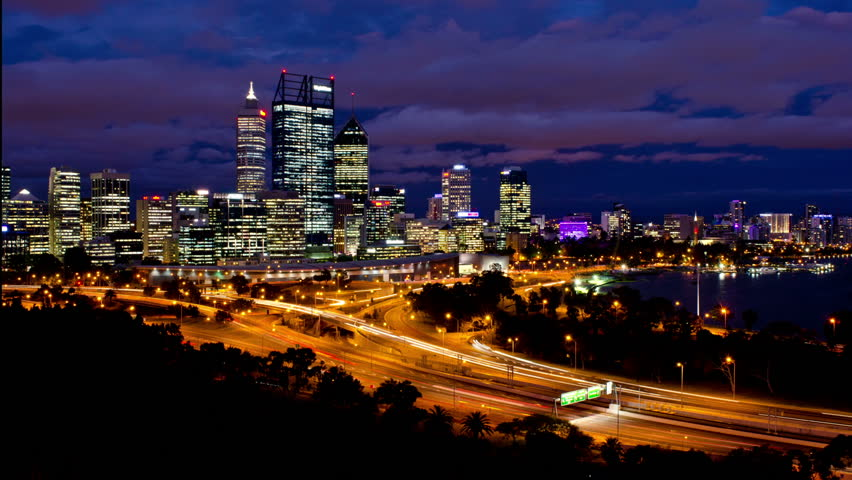 Timelapse of Perth City, Australia, as seen from King