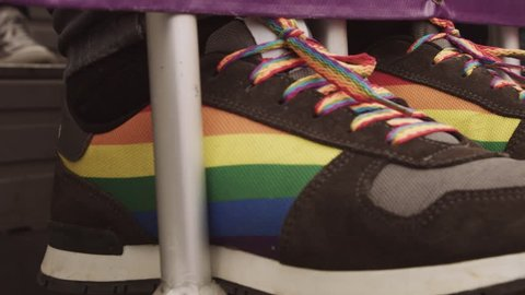 Shoes sneakers with rainbow gay pride flags colors