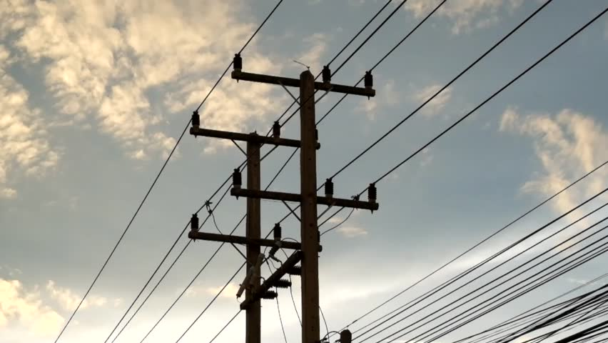 Electricity poles in Thailand.