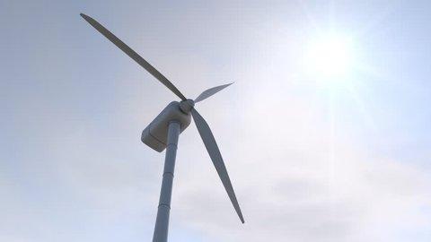 3D animation - Wind turbine on the sky