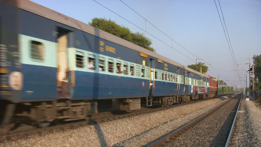 Raigad, India, February 4 2015: Indian Goods Train Passes