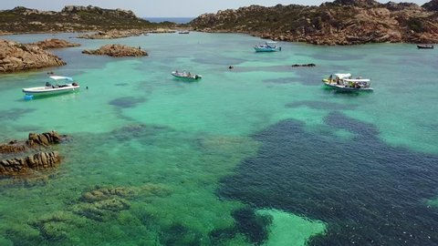 Aerial view of  Razzoli island and Santa Maria island, Maddalena archipelago. Sardinia