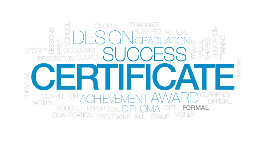 Certificate animated word cloud, text design animation. Kinetic typography.