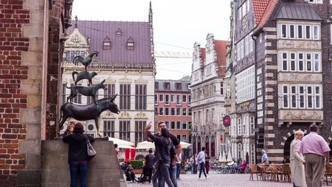 BREMEN, GERMANY, JULY 2017 - Hyperlapse of Bremen Musicians Statue, situated in the heart of the city of Bremen, Germany, Europe.