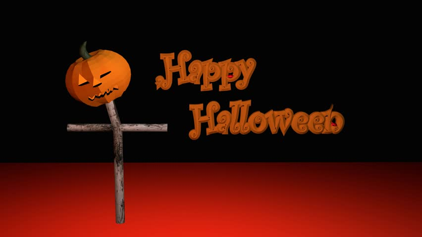Happy Halloween text with flowing blood and a shining pumpkin lantern with black background | Shutterstock HD Video #29741878