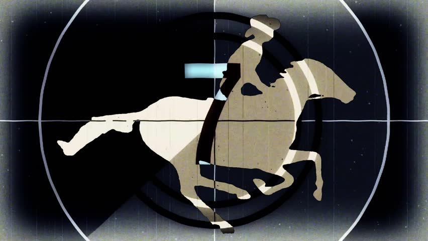 retro vintage black countdown with cartoon horseman cowboy upon running horse seamless endless loop \ new quality unique handmade animation dynamic joyful video footage