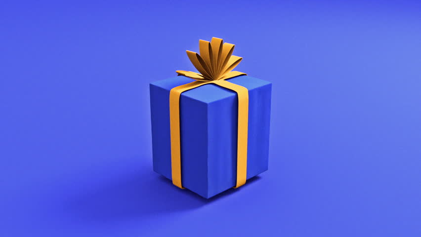 Modern Spinning Present Animation - Beautiful 3D Render of a Jumping Gift, Simulated Ribbon, Clean and Colorful look. Greenscreen / Matte included.