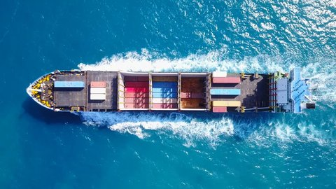 Container ship at sea - Top down Aerial footage